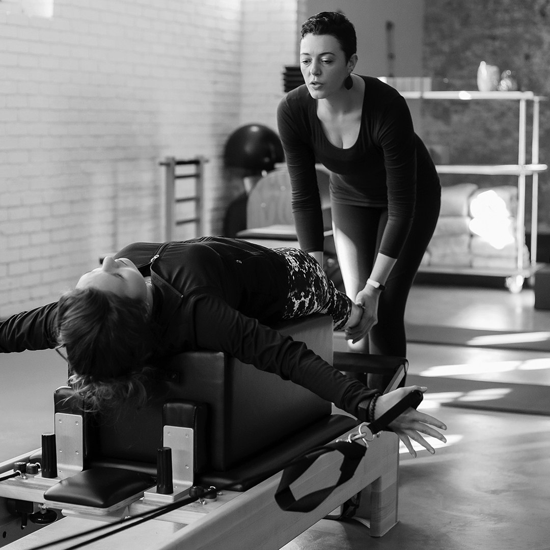 Justine and Chanté working on the reformer machine in the JJust Move biokinetic, yoga and pilates studio.